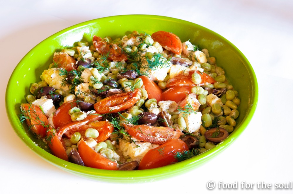 Fava Beans with Roasted Tomatoes and Feta