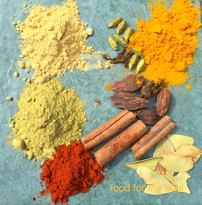 Spices: Fennel, Ginger,  Green Cardamon, Black Cardamon, Cinnamon, Cloves, Chili, Turmeric, Bay leaves