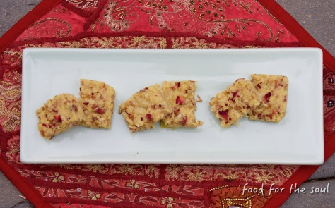 Coconut Burfi- Saffron and Rose infused